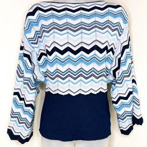 ABSOLUTELY Chevron-Design MetallicThread Sweater